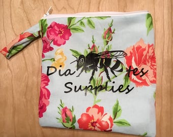"""Hand-Sewn Floral Diabetes Supply Bag with Floral Pattern (8""""x8"""")"""