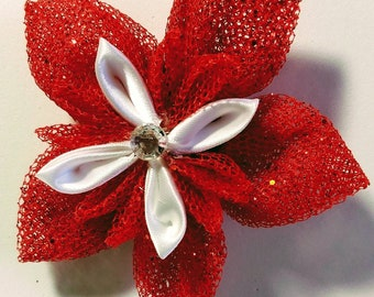 Sparkling Red Floral Hair Clip