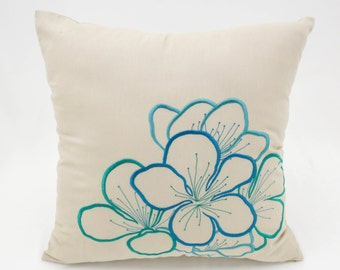 Floral Pillow, Teal Throw Pillow, Embroider Pillow, Beige Linen Pillow, Floral Embroidery, Decorative Pillows, Couch Pillows, Throw Pillows