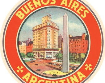 Vintage Style Buenos Aires Argentina South America  Travel Decal sticker