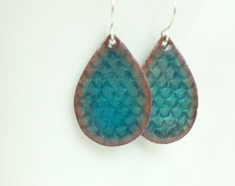 Teal Enamel Mermaid Teardrop Earrings - Enamel Jewelry, Handstamped Jewelry, Mermaid Jewelry, Mermaid Tail, Mermaid Scales, Fish Scales