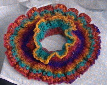 Ruffled Noro Knitted Neckwarmer