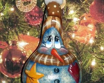 Hand Painted - Original Designed PRIMITIVE SALTBOX SNOWMAN - Folk Art - Holiday Decor - Snowman Ornament - Gourd - Gourds - Gift Idea
