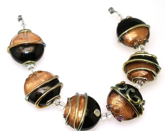 Black and Gold lampwork beads set of 6 lampwork beads SRA glass beads MTO, glass beads lampwork glass beads ,jewelry supplies