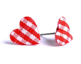 Red and white plaid padded heart fabric stud earrings READY to ship (330)