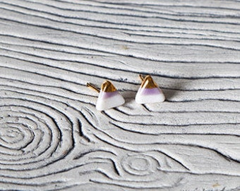 Gold dipped triangle stud earrings
