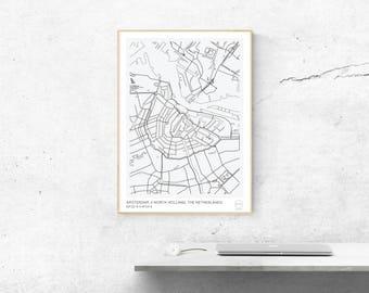 Minimalist Map - Amsterdam