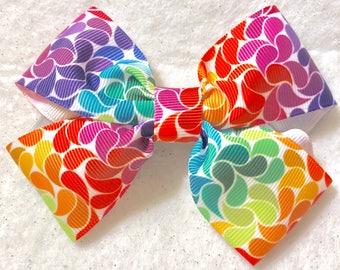 Girly Rainbow Petals Hair Bow