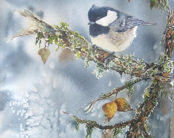 Chickadee painting,print of original watercolor, Spring Thaw.