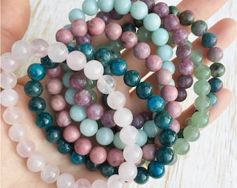 Amazonite Rose Quartz Rhodonite Apatite Lepidolite Aventurine Ruby in Kyanite Bracelet Set, Mala Beads Bracelet, Healing Crystal Bracelet