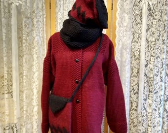 Cherry red wool/mohair blend handknit jacket with matching accessories.