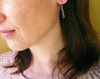 Shape Shifter Earrings. Small Gold Geometric Earrings. Gold Rectangle Earrings. 14K Gold Filled and Brass Earrings. Handmade Gold Earrings.