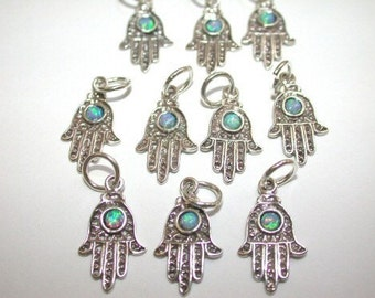 10 pieces Sterling Silver Hamsa Charms with Opal