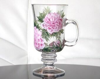 Hand Painted Irish Coffee Mug Pink Peonies Hand Painted Glassware Painted Glass Personalized Painted Coffee Mugs Custom Tea Cups Flowers