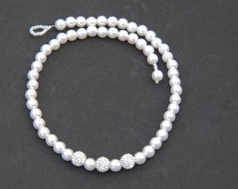 Classic Pearl Crystal Necklace, Shamballa Necklace, Wedding Necklace, Bridal Necklace, Gift for Her, Mothers Day Gift, Pearl Necklace