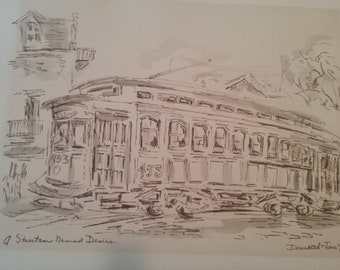 Vintage Original Drawing  A Street car Named Desire by Artist Donabeth. Signed by Artist