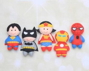 Feutre de que super-héros poupées ornement de super héros Marvel Spiderman peluche pépinière superman poupée Batman peluche Wonder Woman superhéros Iron man