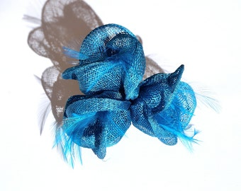 Turquoise blue Flower Node Fascinator Clip with Feathers