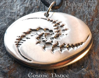 Cosmic Dance - Pewter Pendant - Insight, Universe Infinite Spiritual Growth, Crop Circle Necklace,  Jewelry - Poured by hand in America
