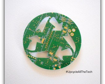 Recycle Symbol Silhouette Cut Out of Recycled Circuit Board - Choose Option: Magnet, Pin or Hanging Ornament