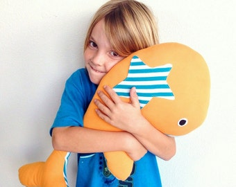OOAK 100% Organic Cotton Stuffed Toy -- BIG Whale -- Orange with teal and white stripes, organic cotton inside & out