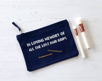 Hair Grips Bag, Mother's Day Gift, gifts for women, wash bag, gift for Mum, toiletry bag, make up bag, gift for her, Fun Gift