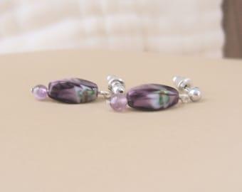 Purple Swirl Earrings Lampwork Glass Bead Dangle Earrings