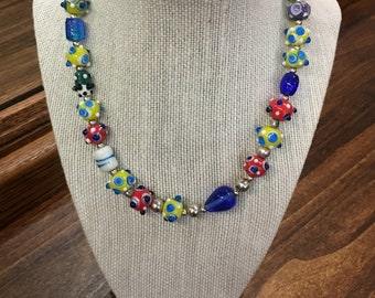 Multi Colored Art Glass Beaded Necklace
