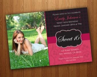 Printable Sweet 16 Invitations / Sweet Sixteen Invitations - Pink & Black