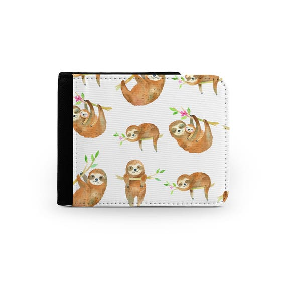 Watercolor sloths everywhere wallet - Christmas present - Wallet for her - Printed wallet - 6P002