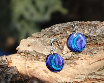 Blue & Purple Hand Painted Earrings