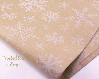 Tissue Paper.   Holiday Tissue Paper - Frosted Snowflake - 20 x 30 recycled tissue - Packaging / Gift Wrapping Craft  ,