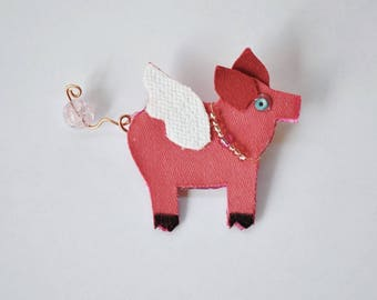 Pig With Wing, If Pigs Could Fly, Pink, Farm Animal, Fantasy, Flying Pig, Whimsical, Recycled Fabric, Pig Pin