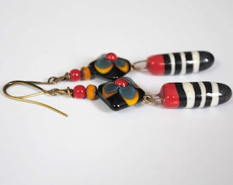 Long Striped Earrings, Dagger Earrings, Lampwork Bead Earrings, Ceramic Bead Earrings,  Red Earrings, Floral Earrings, Boho Chic Jewelry