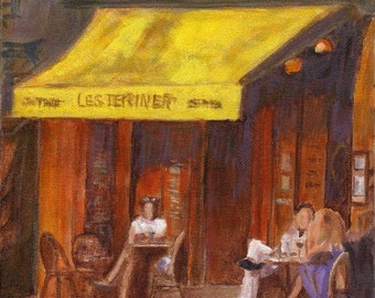 Summer Evening at the Cafe - Original French Cafe Bistro Romantic Paris painting