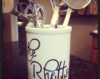Personalized Utensil Holder / Wine Holder
