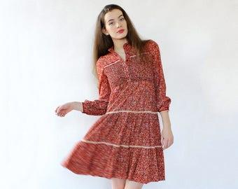 70s Peasant Dress XS • Vintage Floral Dress • 70s Babydoll Dress • Vintage Peasant Dress • Red Floral Dress • Tiered Dress   D1712
