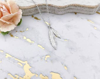 Silver Feathers Dainty Necklace