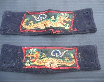Vtg WW2 US Navy  liberty cuffs pair - dragon motif