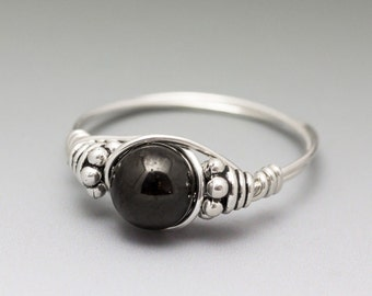 Jet Stone Bali Gemstone Sterling Silver Wire Wrapped Bead Ring - Made to Order, Ships Fast!