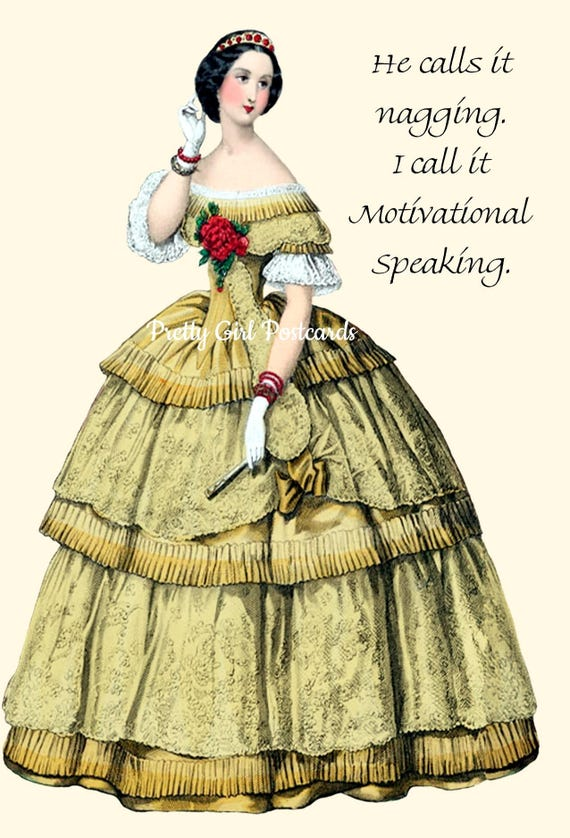 """He Calls It Nagging. I Call It Motivational Speaking. - Marie Antoinette Inspired 4"""" x 6"""" Postcards - Free Shipping in USA"""