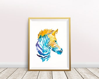 Zebra Art Print, Zebra Watercolor Painting, Animal Art, Animal Print, Africa Animals, Home Decor Wall Art Gift For Mom Digital Download