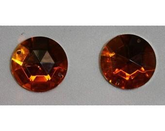 round rhinestone - 25 mm - orange