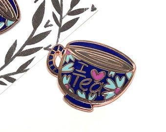 I Heart Tea Enamel Pin - Spring Edition