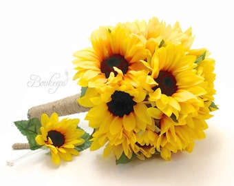 Sunflower Bouquet, Sunflower Boutonniere, Sunflower Bridal Bouquet, Sunflower Bridesmaid Bouquet & Boutonniere with Twine, Sunflower Wedding
