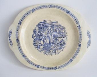 Vintage Camwood Ivory Platter Blue Transferware Design Universal Cambridge Ovenproof