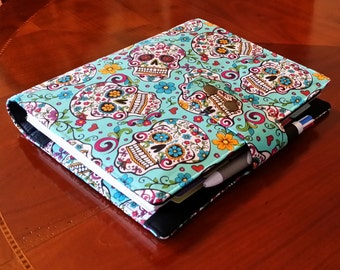 Skulls planner cover Turquoise fabric 17 pocket   Planner accessory Adjustable Closer Erin Condren Plum paper planner cover