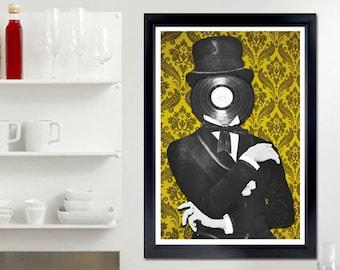 Fancy Poster - classy, vinyl, tuxedo, music, record, wall art, music poster, flock wall