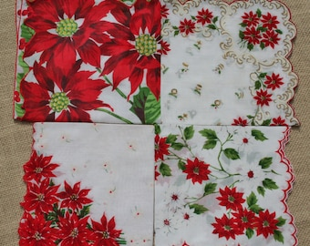 Vintage Christmas Hankies Handkerchief Lot of 4 with Poinsettias
