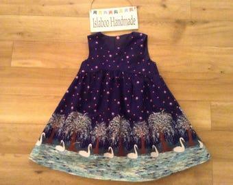 Swan Lake dress, girls Swan dress, Swan Lake border print navy dress, girls party dress, Swan party dress, Swan summer dress